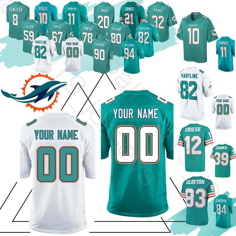 e42f4466a1b 2019 Miami Custom Dolphins 13 Dan Marino Jerseys 10 Stills 20 Jones 11  Parker 8 Osweiler 90 Harris Jersey From Hulk sports