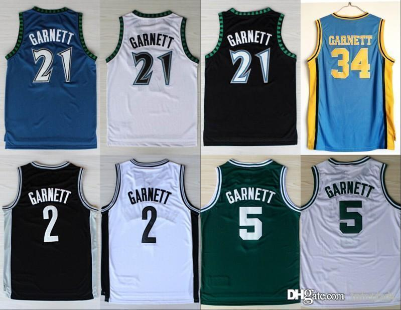premium selection fcb1d bc6b7 NCAA New Minnesota 21 Kevin Garnett Jersey Timberwolves 5 Fashion Rev 30 2  Shirt Uniform Black Blue White Green Pure Cotton