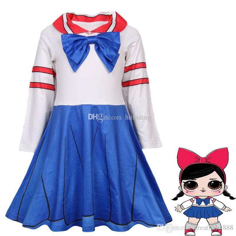 e4b53462c67b Baby Girls School Uniform Bow Cosplay Dress Children Girl Doll ...