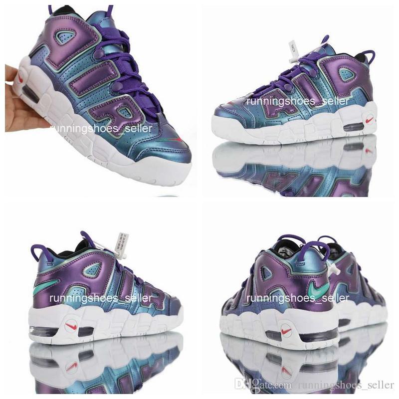 09c99e2e6 2019 Air More Uptempo GS Purple Iridescent Zapatos De Baloncesto Para Mujer  Al Por Mayor De Calidad Superior Big Pippen 922845 500 Zapatillas  Deportivas ...