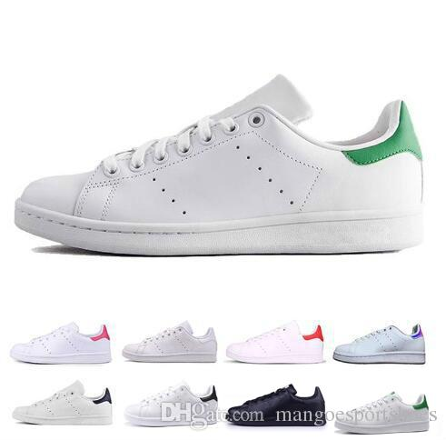 best sneakers 5cde0 9768d Cheap Smith Men Women Casual Shoes Green Black White Blue Red Pink Silver  Mens Stan Fashion Leather Shoe Classic Flats Sneakers Size 36 44 Cheap Shoes  ...