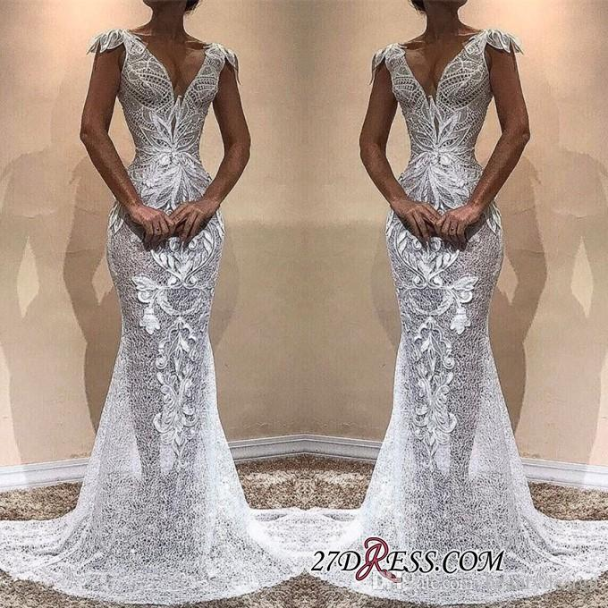 Elegant Cap Sleeve White Full Lace 2019 Real Images Prom Dresses Long Mermaid Long Evening Gowns Formal Pageant Party Dresses