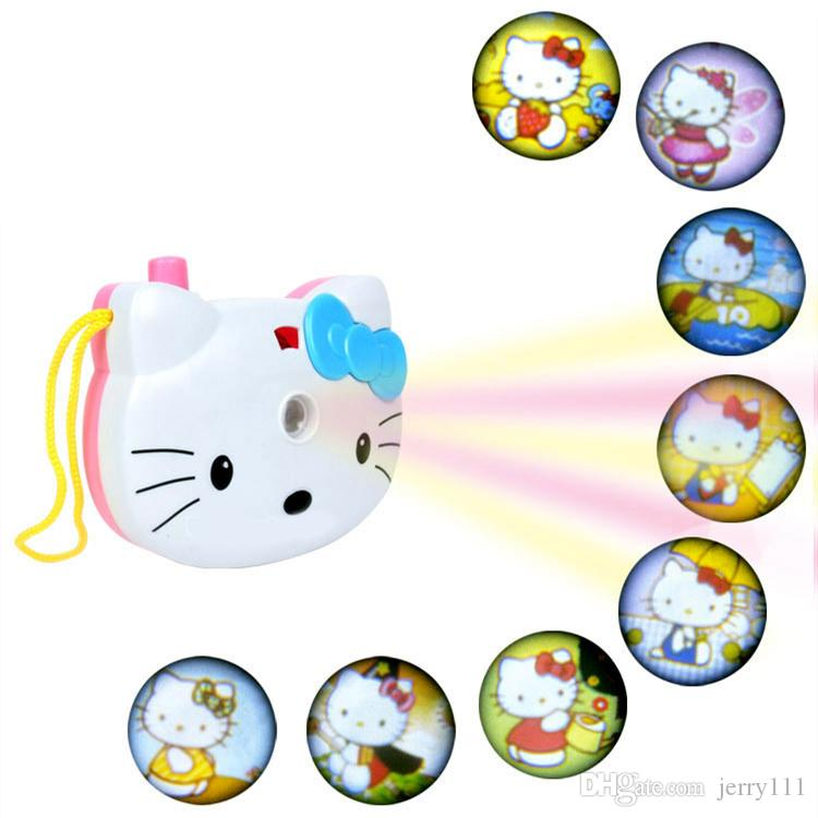 Cute Hello Kitty Light Projection Camera kids Educational toys Kids Projection Cartoon Pattern camera Children Gift JY212