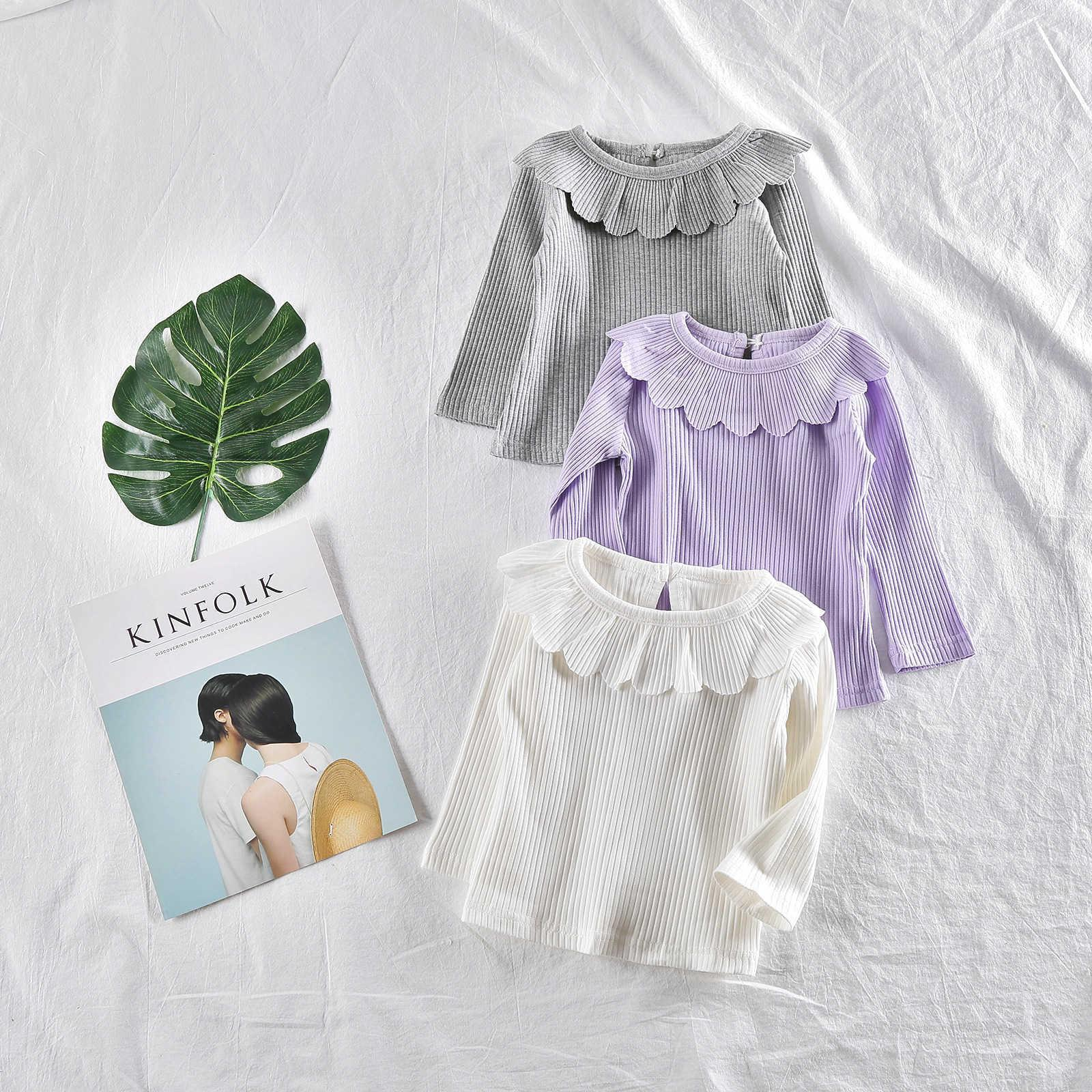 Spring Autumn Cute Ruffles Collar Baby Girl Basic Top Fall Infant Cotton T Shirt Baby Girl Clothing Toddler Long Sleeve Blouse