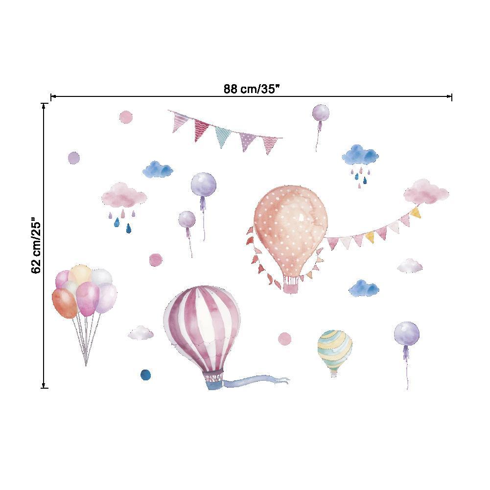 아이 방에 대 한 새로운 만화 뜨거운 공기 풍선 구름 벽 스티커 낙서 생일 파티 장식 거실 아트 벽화