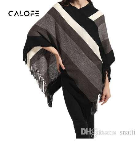 4691d0697f CALOFE Women Knitt Poncho Capes Shawl Ladies Tassel Cardigan Coat ...