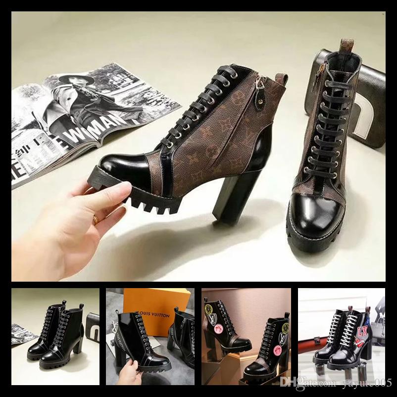 e4bd4768c150 Winter Women S Boot Womens Chunky Heels Martin Boots Black Leather With  Monogram Boots Winter Warm Botas Luxury Brand Lady Bootie Pumps Shoes Shoe  Boots ...