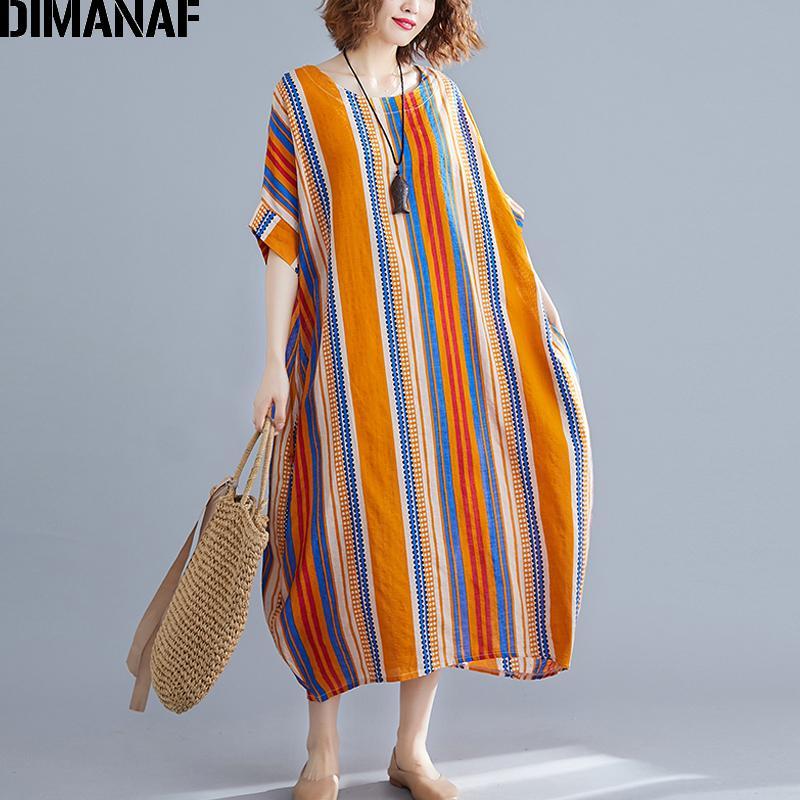99afa6a960748 DIMANAF Plus Size Women Beach Dress Sundress Big Size Female Vestidos  Summer Holiday Cotton Print Striped Loose Lady Long Dress