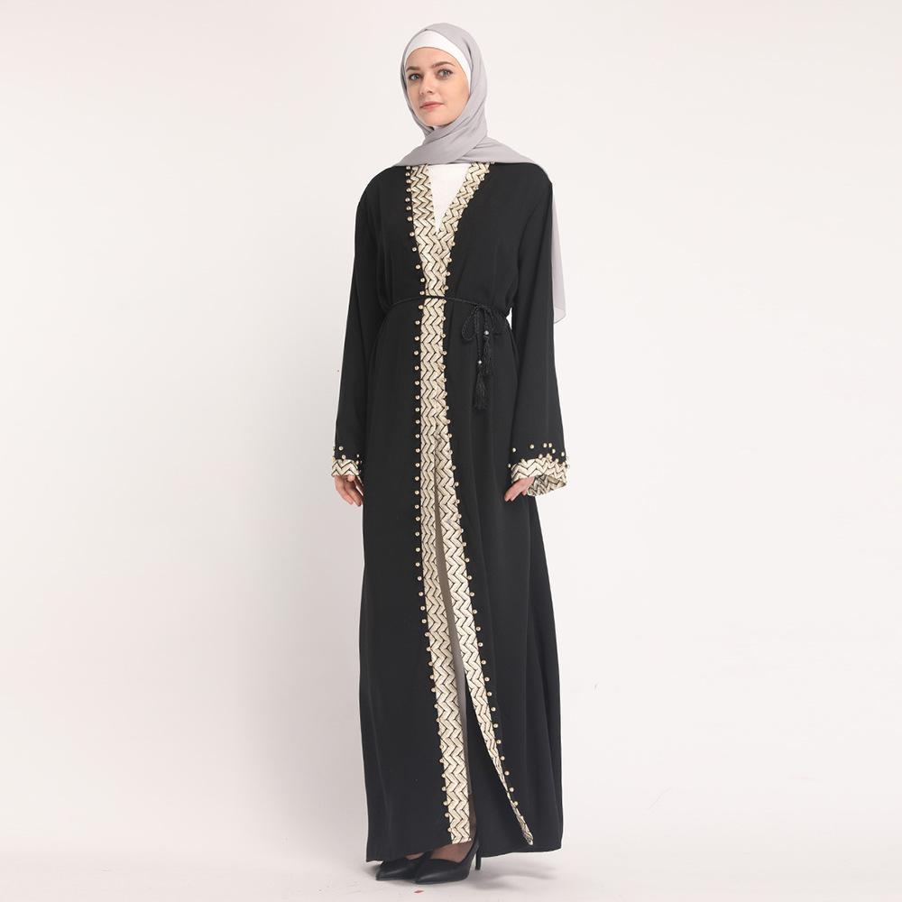 2e9c569e3f7b9 Satın Al 2019 Yeni Varış Moda Siyah İslam Giyim Dubai Elbiseler Son Tasarım  Müslüman Hırka Işlemeli Açık Abaya, $31.16 | DHgate.Com'da