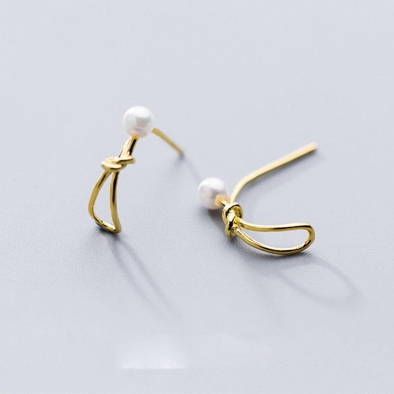 a2c2985f6 2019 Rope Knot 925 Sterling Silver Stud Earrings For Women Fashion Jewelry  Shell Pearl Small Studs Earring Ear Accessories From Dujuanflower, ...