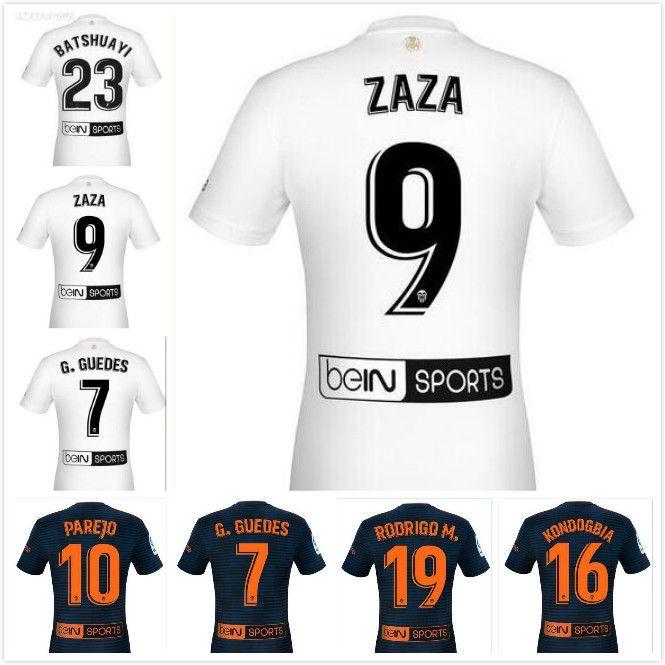 brand new 309c9 a0861 2018 2019 Valencia CF Soccer Jersey ZAZA PAREJO G.GUEDES C.SOLER GAYA MINA  VIETTO RODRIGO Custom Blue White Adult Football Shirt