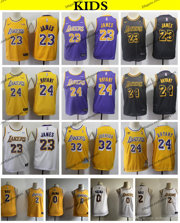 e86abdf2e63 2019 2019 Kids Los Angeles 23 Lakerses LeBron James Lonzo Ball Kyle Kuzma Basketball  Jerseys Youth Kobe Bryant Magics Johnson Vintage Shirts S XL From ...