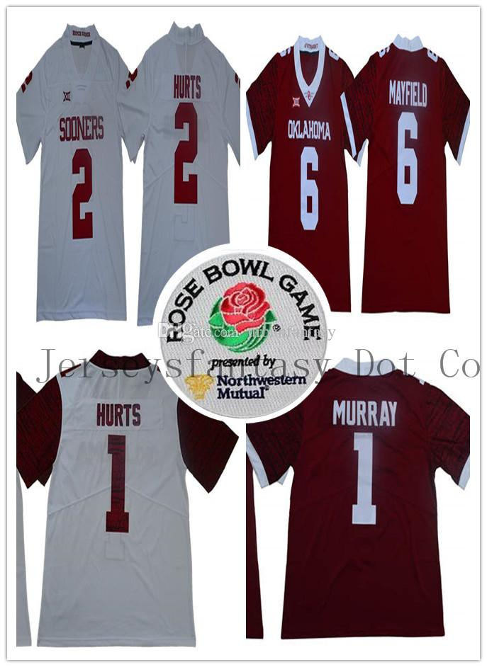 online store 184de 4a295 Mens Oklahoma Sooners 1 Kyler Murray 6 Baker Mayfield 1 Hurts 2 Hurts  College Replica Football Rose Bowl Jerseys Szies S to 3XL