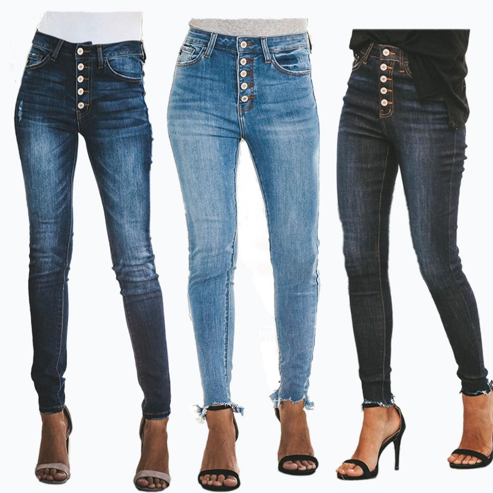 7f45fb11e Compre 2019 Primavera Nuevos Pantalones Vaqueros Mujer Botón Mosca Jean  Slim Femme Jeans Mujer Mamá Elástica Cintura Alta Vintage Denim Mujeres 84  XXL A ...