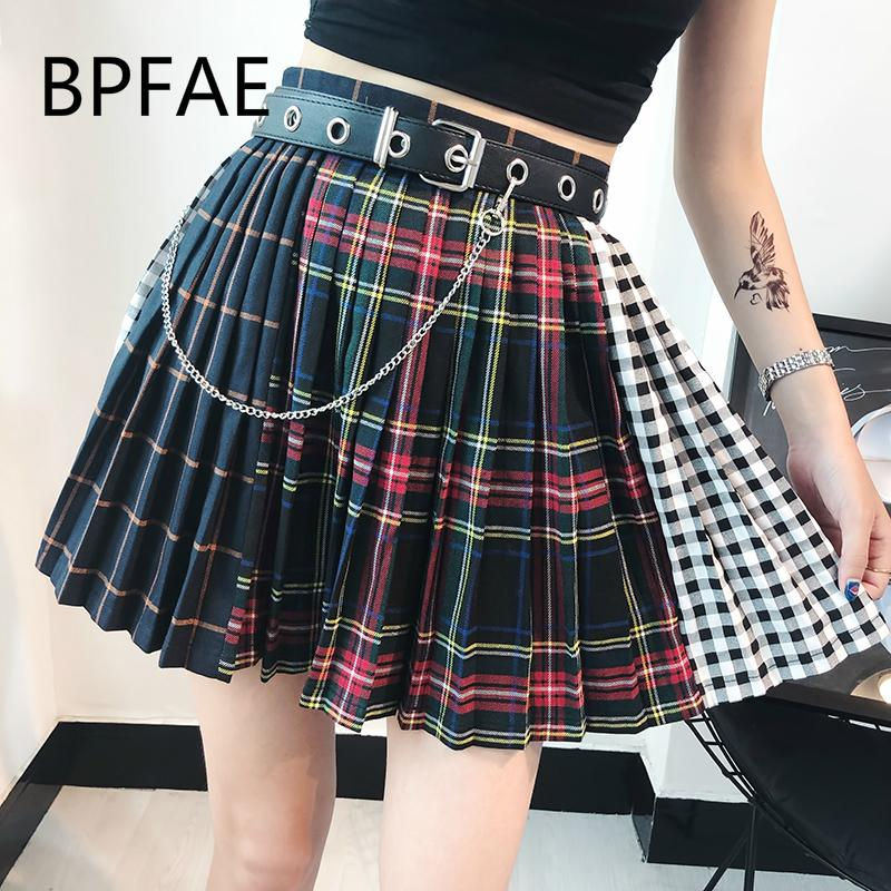 2018 New Arrival Summer Autum Harajuku Gothic Multicolor Plaid Pleaded Skirts Punk Hip Hop High Waist Mini Culotte Skirt Femme Y190428