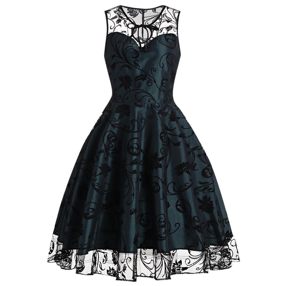 836163e1736 Women Vintage Retro Lace Party Dress Summer O Neck Sleeveless Mesh Feminino  Vestidos De Festa Ball Gown Dress 2017 Online with  25.26 Piece on ...