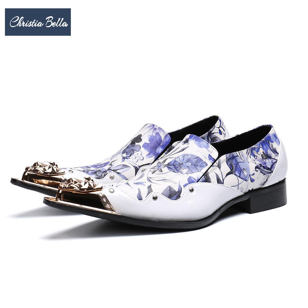 4786b675e Compre Christia Bella Designer Floral Branco Sapatos De Couro ...