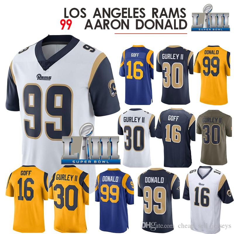 new products fd666 96efc 30 Gurley 99 Donald 16 Goff Angeles Rams Jersey 5 Foles Game American  football jerseys