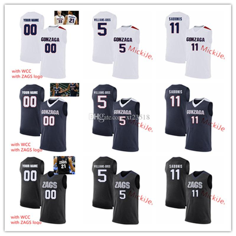 super popular 163c1 7bd79 Men Custom Gonzaga Bulldogs Basketball Jersey Nigel Williams-Goss Domantas  Sabonis Zach Collins Silas Melson Johnathan Williams ZAG Jersey