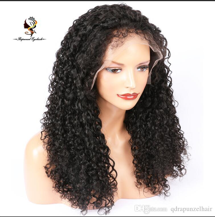 Glueless Deep Curl Unprocessed Brazilian Virgin Human Hair Wig Pre Plucked full lace wigs with Baby Hair Wig for Black Women