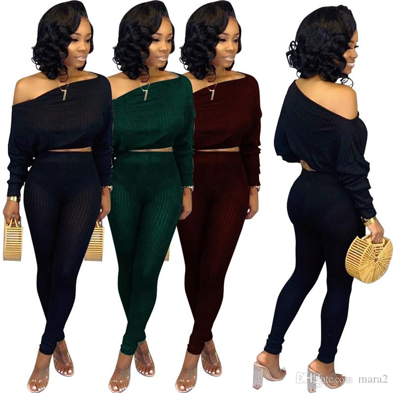 Women crop top pencil pants 2 piece set gym sexy & club slash neck t-shirt leggings trousers sweatsuit pullover fall winter clothing 1537