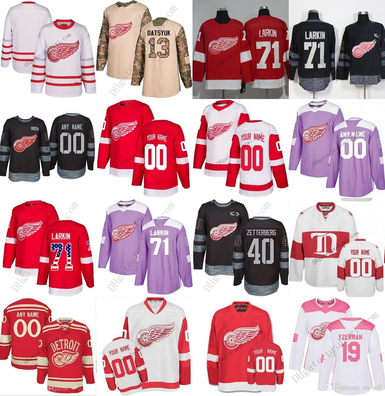 d84c07c91 2019 2018 New Detroit Red Wings Jersey Custom XS 6XL 8 Justin Abdelkader 71  Dylan Larkin 19 Steve Yzerman 9 Gordie Howe Hockey Jerseys Home Away From  Cn ...