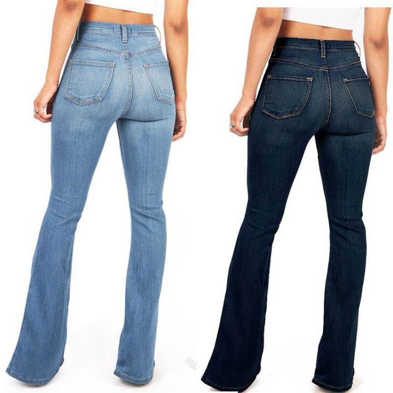 c9d34f368a7 Compre QMGOOD New Chic Womens Skinny Cintura Alta Pantalones Acampanados De  Mezclilla Pantalones Vaqueros De Campana De Moda Azul Stretch Jeans Mujeres  ...