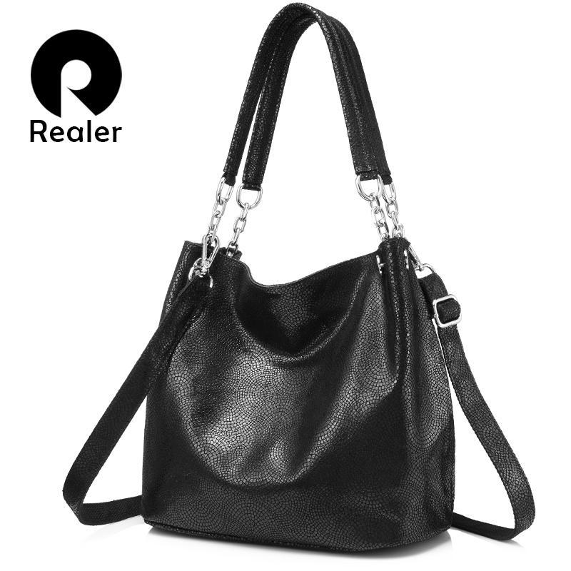 de7d0e6d7d29 REALER Women Handbag Genuine Leather Shoulder Crossbody Bag Female Large  Messenger Bags Ladies Hobos Top Handle Tote Bag Canada 2019 From Cn22
