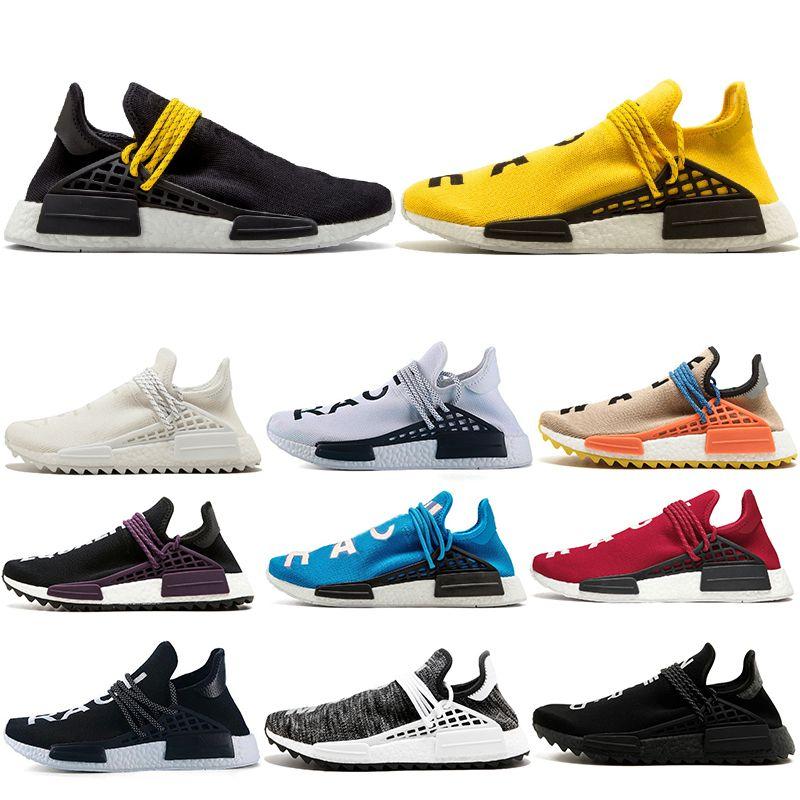 7c60c088a37bf Cheap 36-47 NMD Human Race Trail Running Shoes Men Women Pharrell Williams  HU Runner Yellow Black White Red Green Grey Blue Sport Runner Sneaker