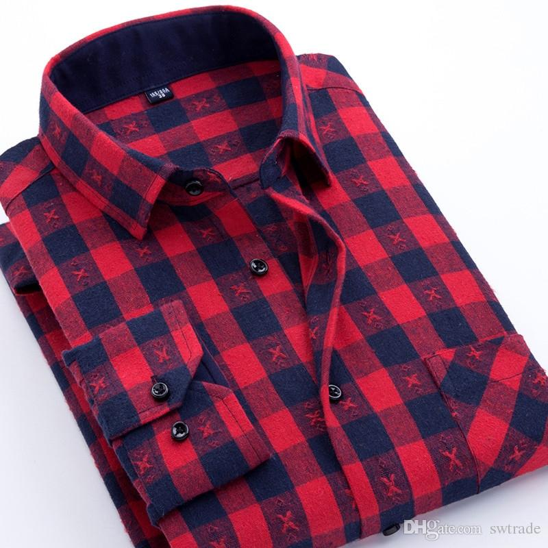 1b7ed3dd0 2019 New 2018 Spring Fashion Check Design Brushed Fabric Slim Fit Mens Plaid  Casual Shirts Quality No Fade No Shrink Male Tops #470891 From Swtrade, ...