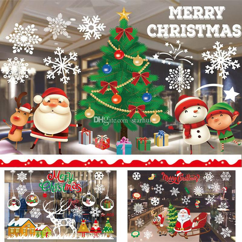 Christmas Self Adhesive Stickers Decorations Clearance Merry Christmas  Ornament Home Window Wall Stickers Shopping Mall Glass DHL WX9 1163 Best  Christmas ... - Christmas Self Adhesive Stickers Decorations Clearance Merry