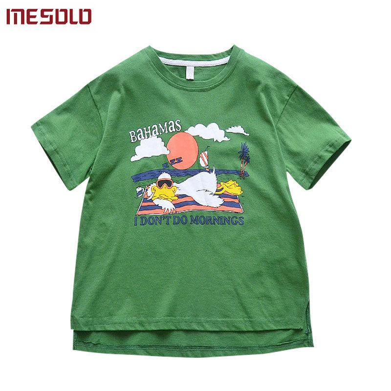 2019 new summer girls fashion tees large children's short-sleeved T-shirt cartoon printing cotton tops for kids 5-11 years