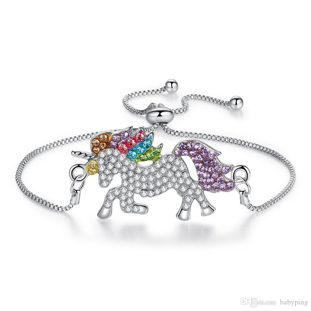 Unicorn Adjustable Chains Charm Bracelets for Children Colorful Pony Silver Gold Plated Diamond Crystal Wristbands Bracelet
