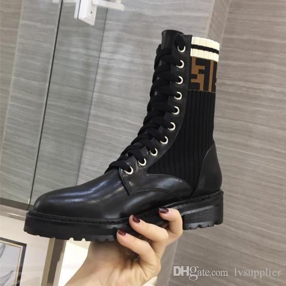 9df05a27043 Designer Classic Rockoko Combat Boots Womens Luxury Brand Ankle Boots  Stretch Fabric Calf Leather Lace Up Martin Boots Fashion Booties