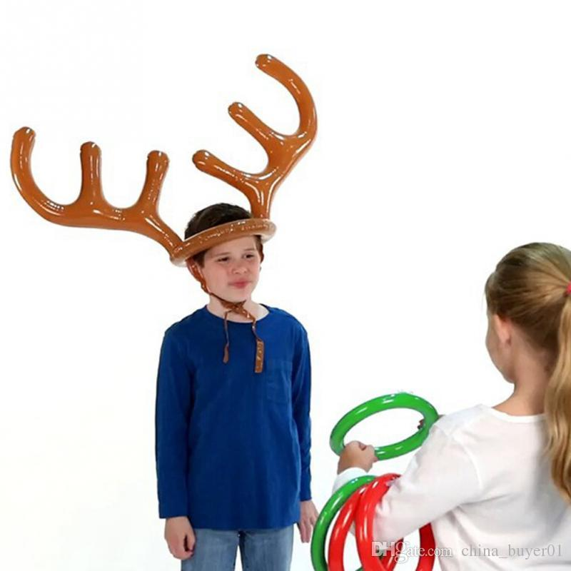 df74f131523b6 2019 Inflatable Santa Funny Reindeer Antler Hat Ring Toss Christmas Holiday  Party Game Supplies Toys From China buyer01