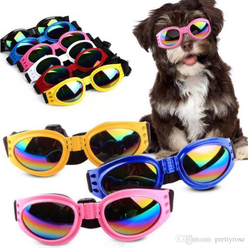 Fashion Dog Sunglasses Cool Pet Dog Accessories Adjustable Glasses For French Bulldogs Medium Big Dog Waterproof Goggles 6 Colors