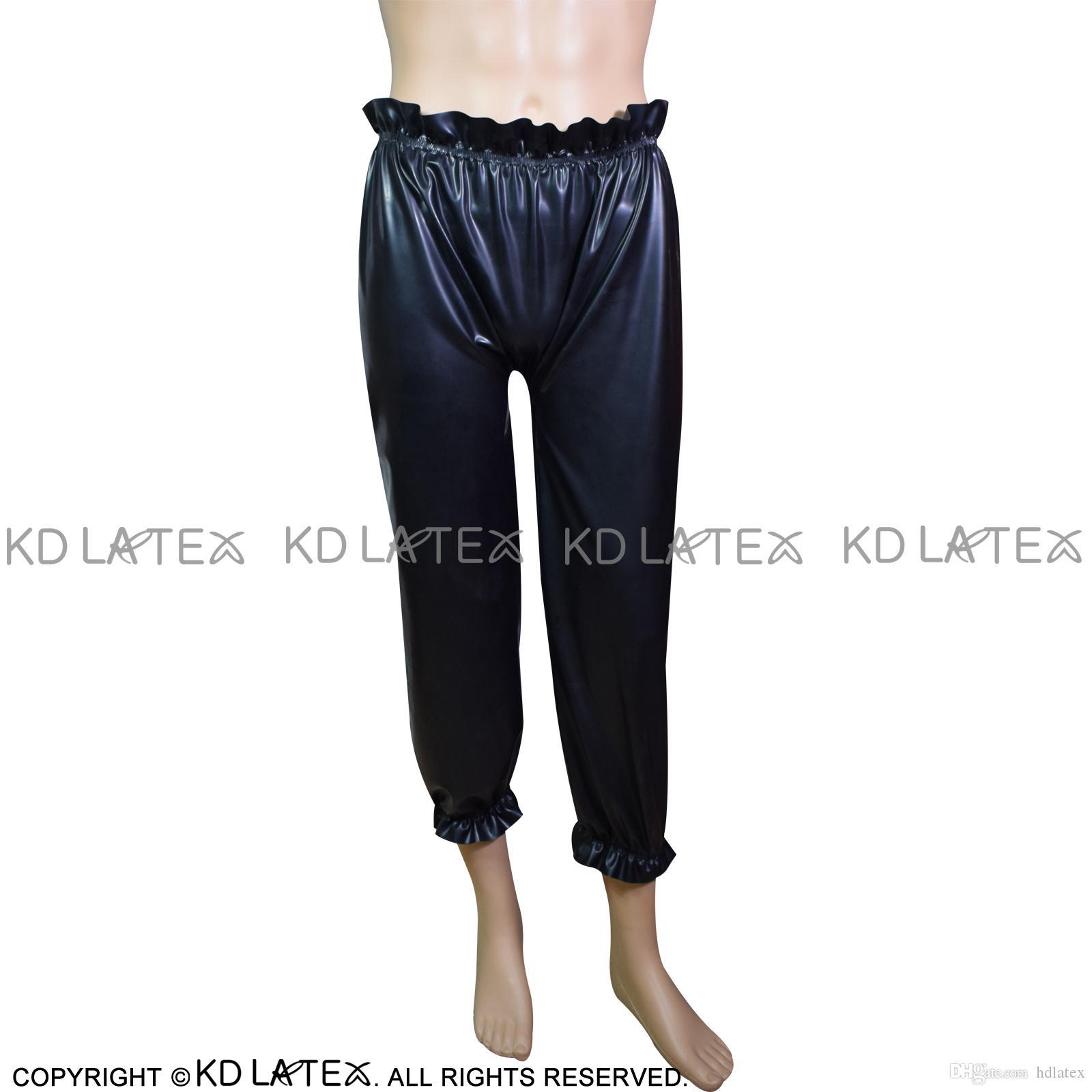 74f9b4683 Pantalon noir sexy en latex avec bande élastique Bloomers Pantaloons avec  volants Leggings en caoutchouc Pantalons Bas Plus Size 0023