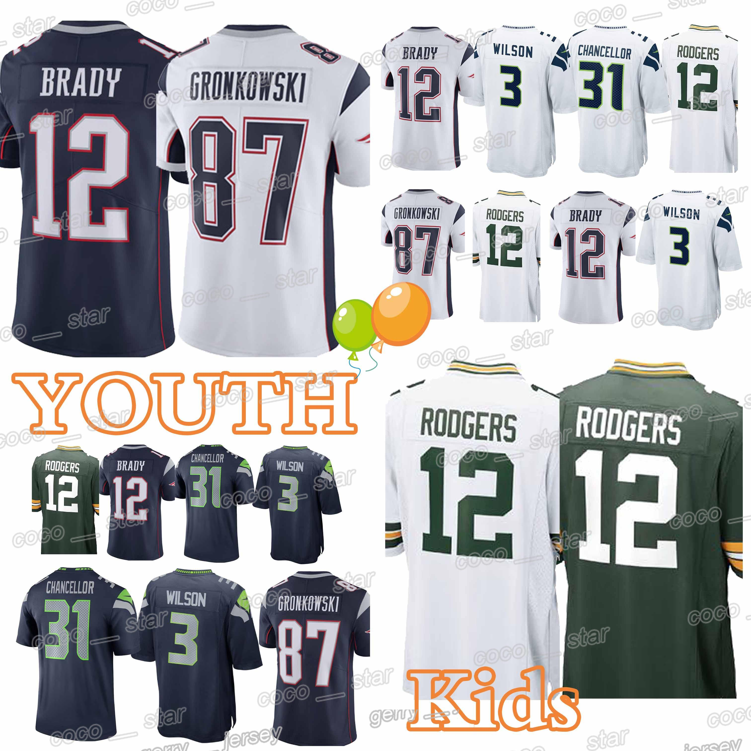 more photos 6d923 9c773 YOUTH New Patriot Green Bays 77 Packer Seattle 22 Seahawk Jerseys #12 Tom  Brady 12 Aaron Rodgers 3 Russell Wilson jersey KIDS