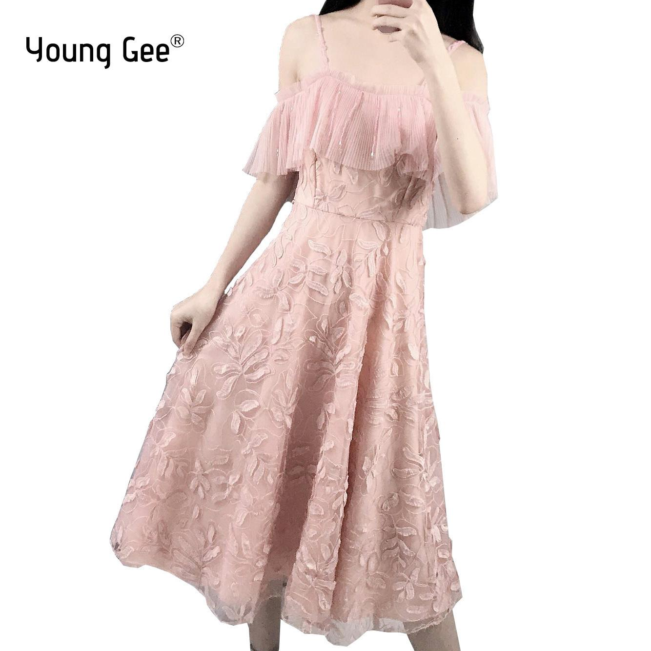 c189d5a13d6d7 Young Gee Women Elegant Lace Floral Embroidery Midi Dresses Sexy Spaghetti  Strap Crystal Beading Pink Off Shoulder Party Dress Q190522