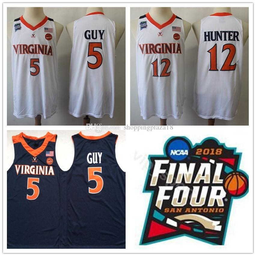 3f0968d9b068 NCAA 2019 Champions Virginia Cavaliers Jersey 5# Kyle Guy ACC UVA Final  Four 12 De'Andre Hunter White Men's Basketball Jerseys Sti