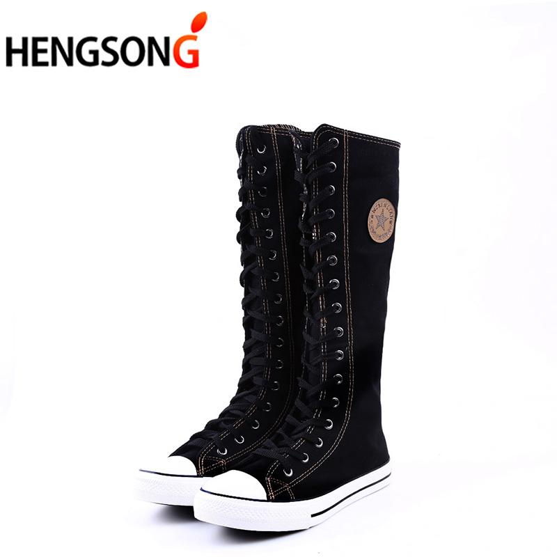 6178d548a6e HENGSONG Fashion Canvas Lace Zip Boots Women Knee High Boots Women Tall  Casual Flats Shoes Punk Girls Boots For Men Girls Boots From Roomroot