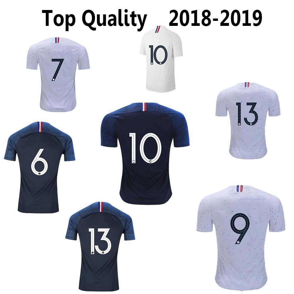 check out b76b0 ba3a8 2 Stars France Soccer Jersey GRIEZMANN MBAPPE POGBA Jersey Home Away  Football Shirts Thailand Top Quality 2019 KANTE PAVARD