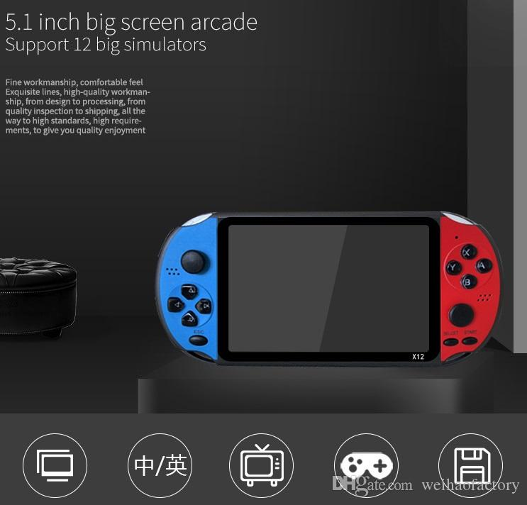 """X12 Handheld Game Player 8GB Memory Portable Video Game Consoles with 5.1"""" Color Screen Support TF Card 32gb MP3 MP4 Player 12pcs DHL"""
