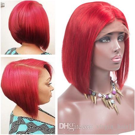 Bright Red Brazilian Virgin Human Hair Short Bob Lace Wigs with Baby ... c8373776de9a