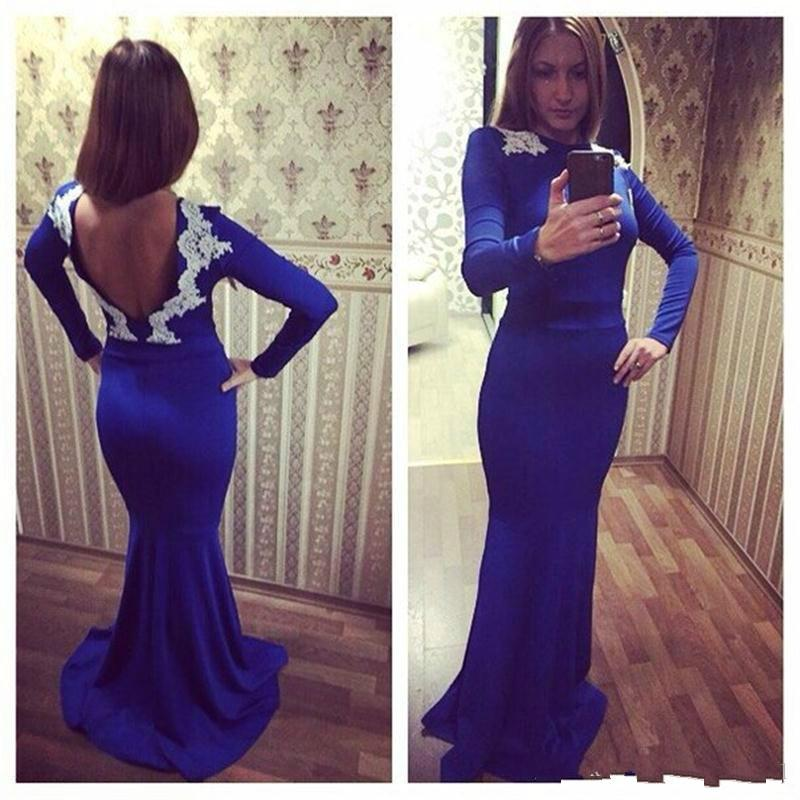Royal Blue Prom Dresses with Long Sleeves 2019 Sexy Mermaid Bateau Neck Backless Formal Evening Gowns Sweet 16 Dress Women Cheap Party Gown