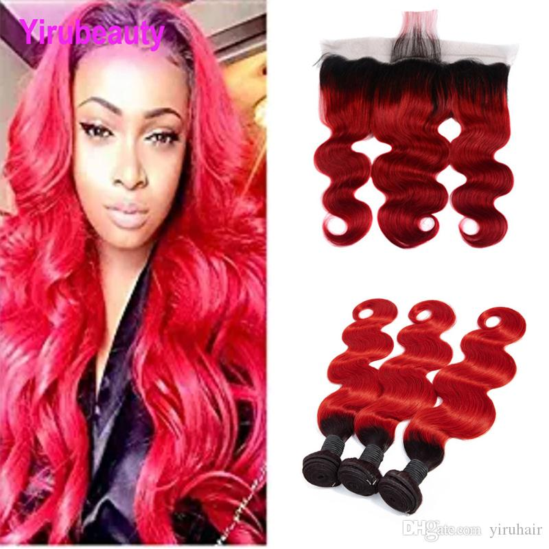 Malaysian Body Wave 1B/Red Ombre Human Hair Extensions With 13X4 Lace Frontal With Baby Hair Wefts With Closure 4 Pieces/lot Body Wave