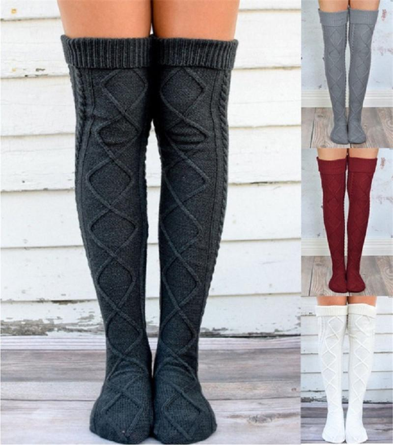 1a5ca569c67 Over Knee High Girls Stockings Knitted Winter Warm Long Socks Women  Knitting Leg Warmers Rhombus Crochet Socks Female Thigh High Pantyhose  White Knee Socks ...