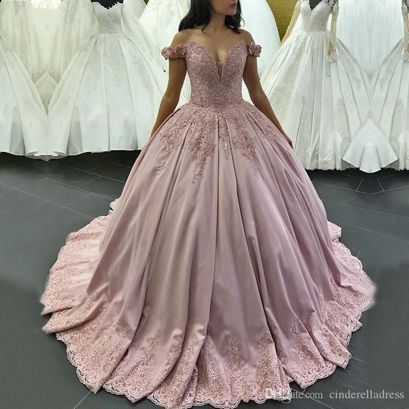 Luxury Long Quinceanera Dresses 2019 Puffy Ball Gown Sweetheart Cap Sleeve  Sweet 16 Sixteen Beaded Pink Evening Prom Gowns Dress Dress For 2015 Dress  For ... c9501187da84