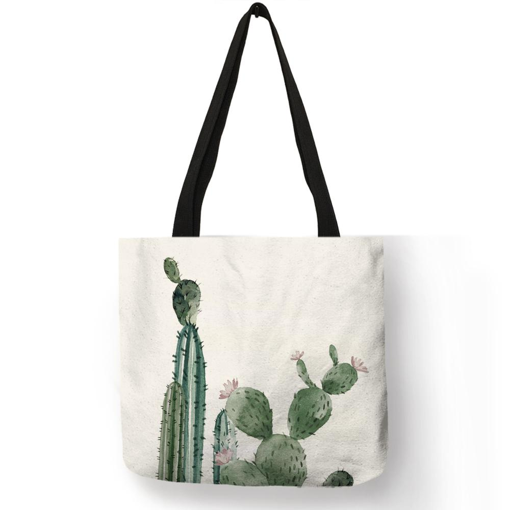 Dropship Watercolor Green Plant Cactus Tote Bag Women Fashion Fabric  Handbags Linen Reusable Shopping Bags With Print