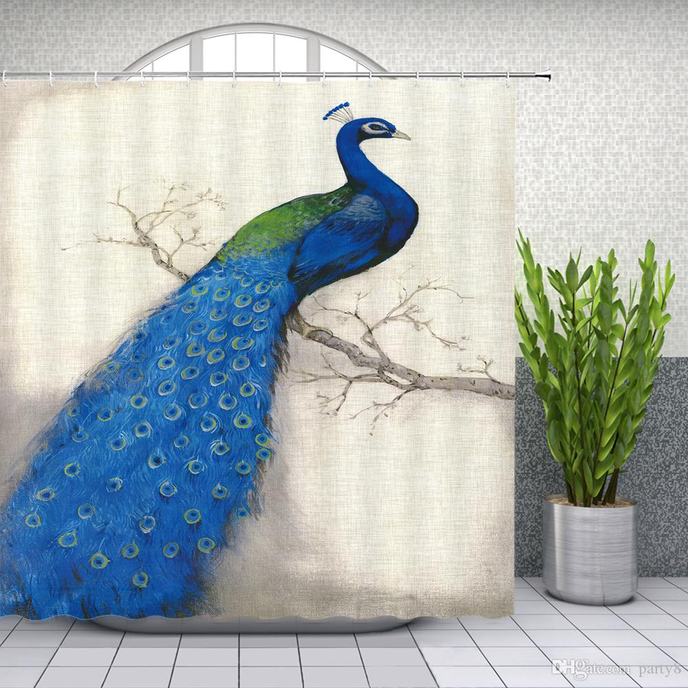 Blue Peacock Shower Curtains Beautiful Animal Bathroom Decor Waterproof Polyester Fabric Animals Shower Curtain Set 69 X 70 Inch With Hooks